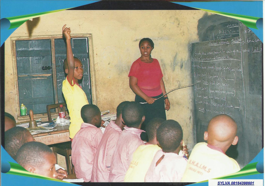 Teaching class at Bishop Anayochuku Iloputaife Christian School and Orphanage